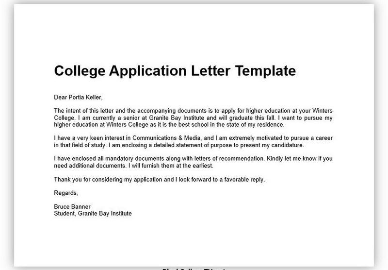 College Application Letter 01