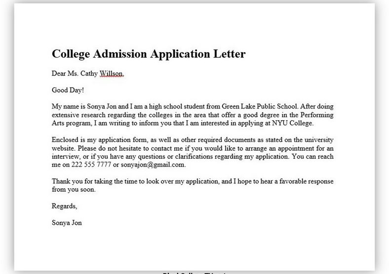 College Application Letter 03