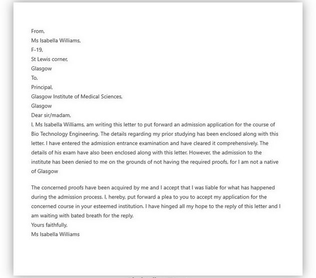 College Application Letter Example