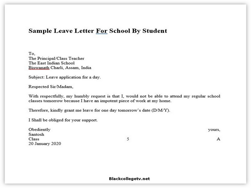 College Leave Letter 01