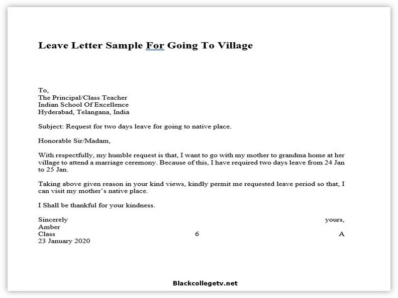 College Leave Letter 03