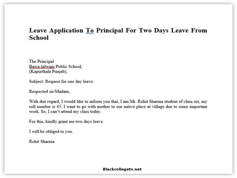 College Leave Letter 04