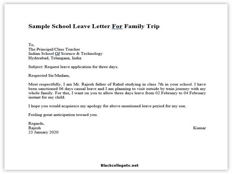 College Leave Letter 05