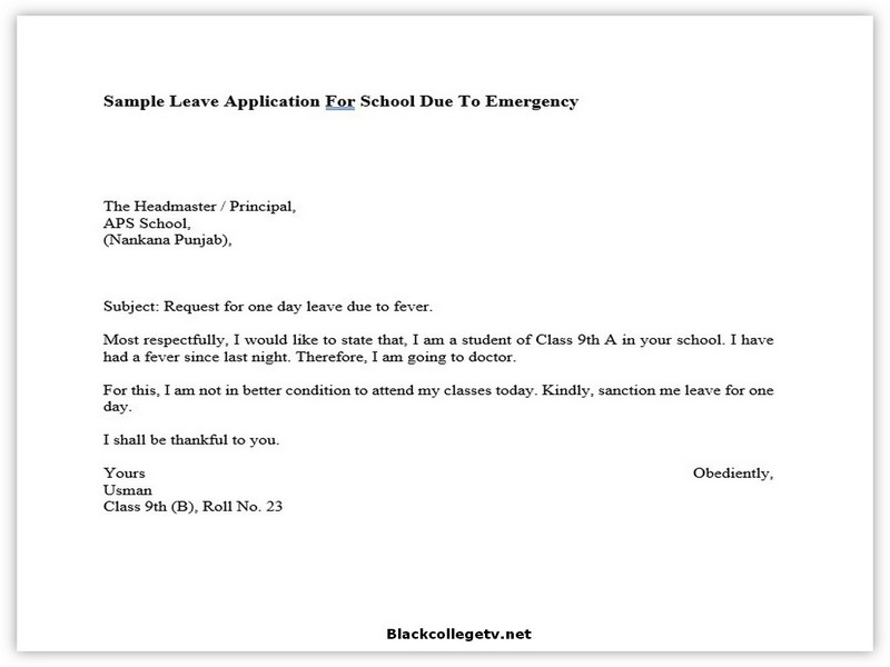 College Leave Letter 07
