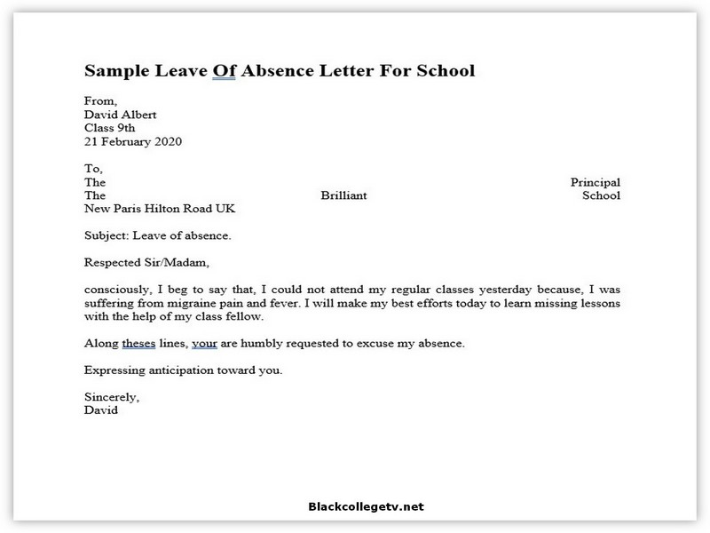 College Leave Letter 08