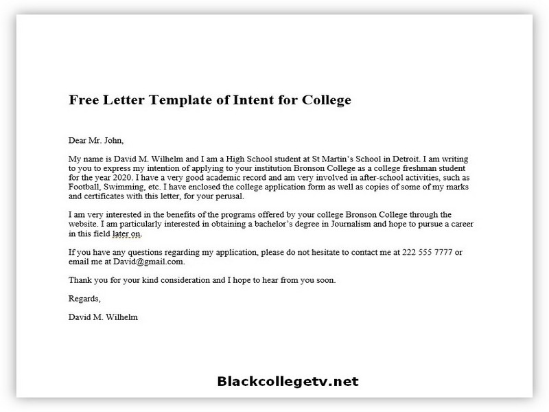 College Letter of Intent Example 01
