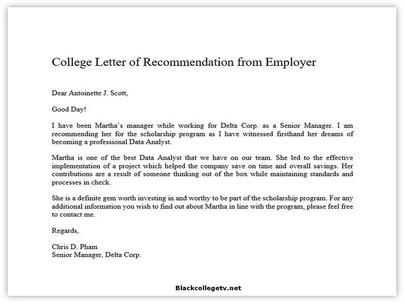College Letter of Recommendation from Employer 01