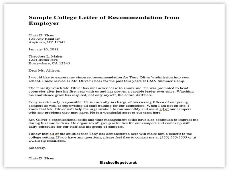 College Letter of Recommendation from Employer 03