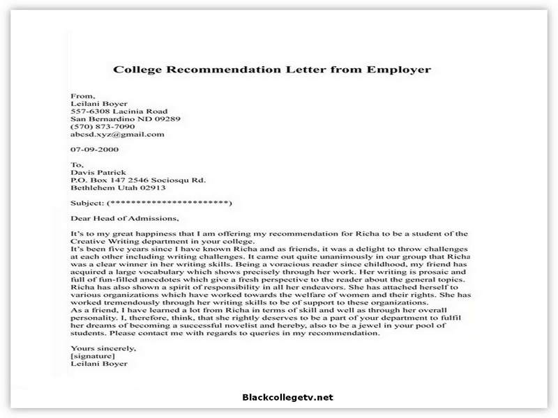 College Letter of Recommendation from Employer 04