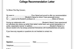 College Recommendation Letter Template 01