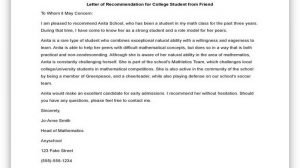 College Recommendation Letter from a Friend 01