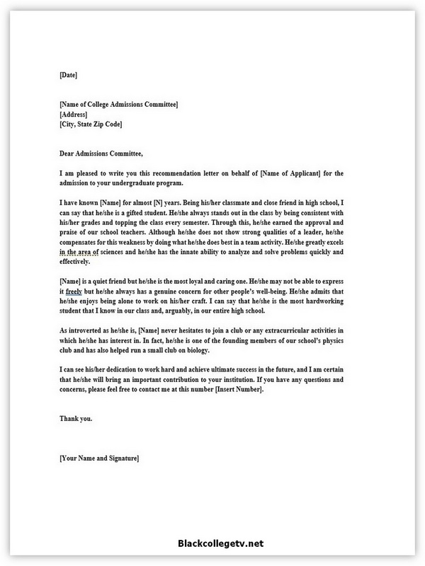 College Reference Letter 06