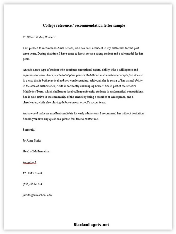 College Reference Letter 07