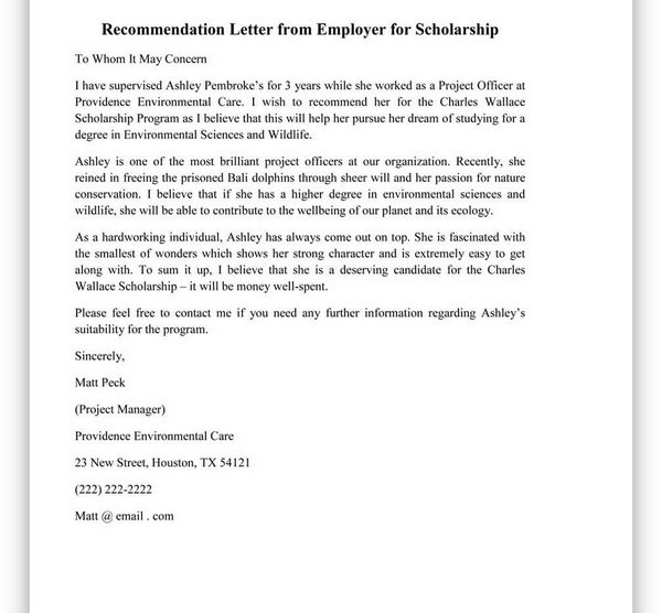 College Scholarship Letter of Recommendation 04