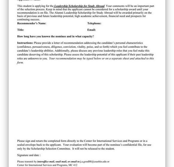 College Scholarship Letter of Recommendation 07