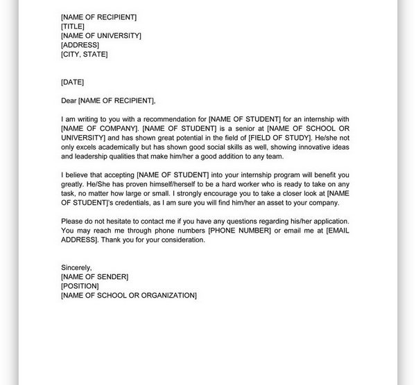 College Scholarship Letter of Recommendation 09