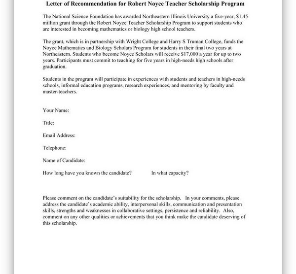 College Scholarship Letter of Recommendation 11