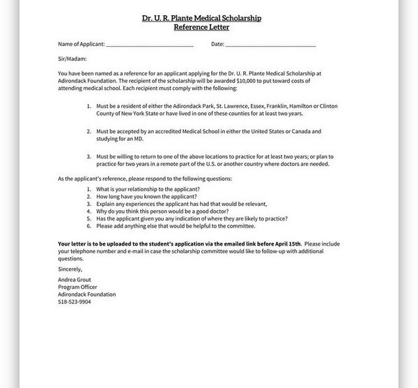 College Scholarship Letter of Recommendation 12