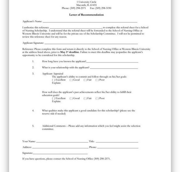 College Scholarship Letter of Recommendation 21