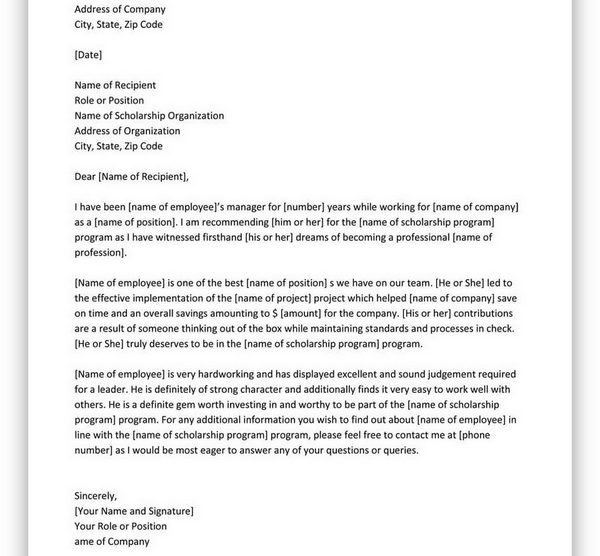 College Scholarship Letter of Recommendation 22