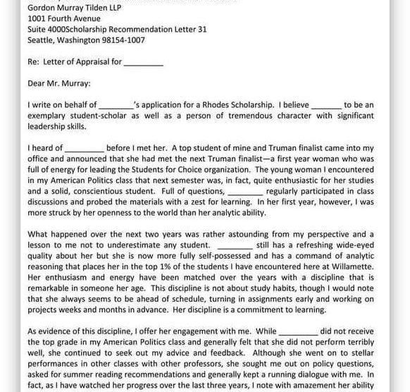 College Scholarship Letter of Recommendation 32