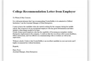 College recommendation from employer 01
