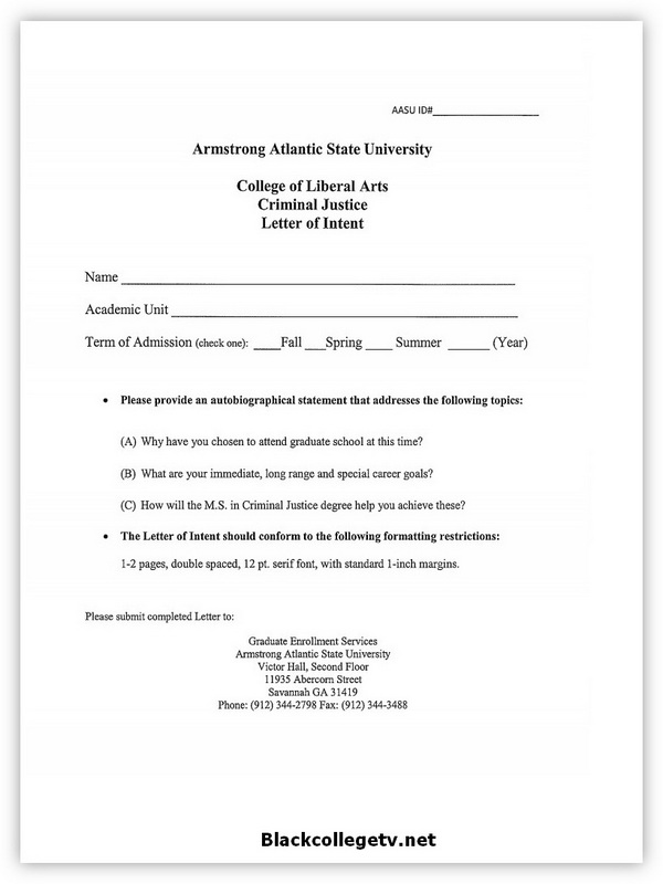 Printable College Letter Of Intent