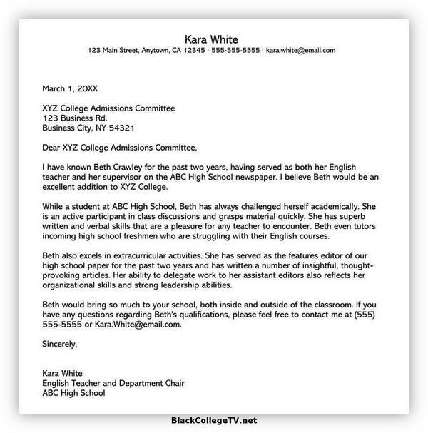 College Letter of Recommendation Examples 06