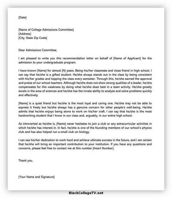 College Letter of Recommendation Format 01