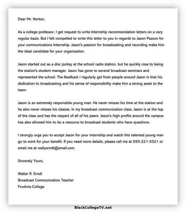 College Letter of Recommendation Format 02