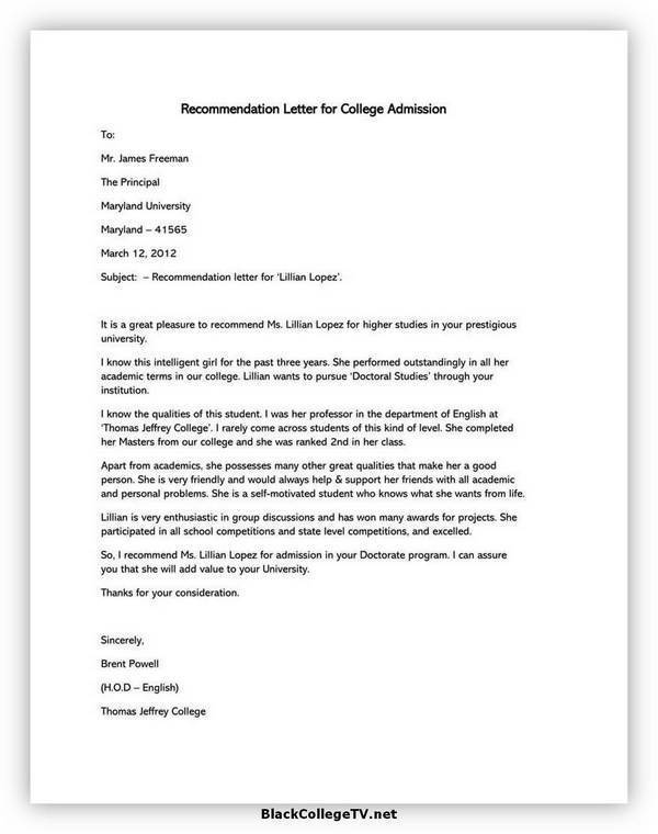 College Letter of Recommendation Format 03