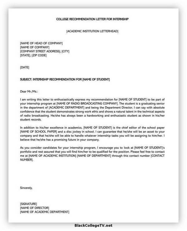 College Letter of Recommendation Format 06
