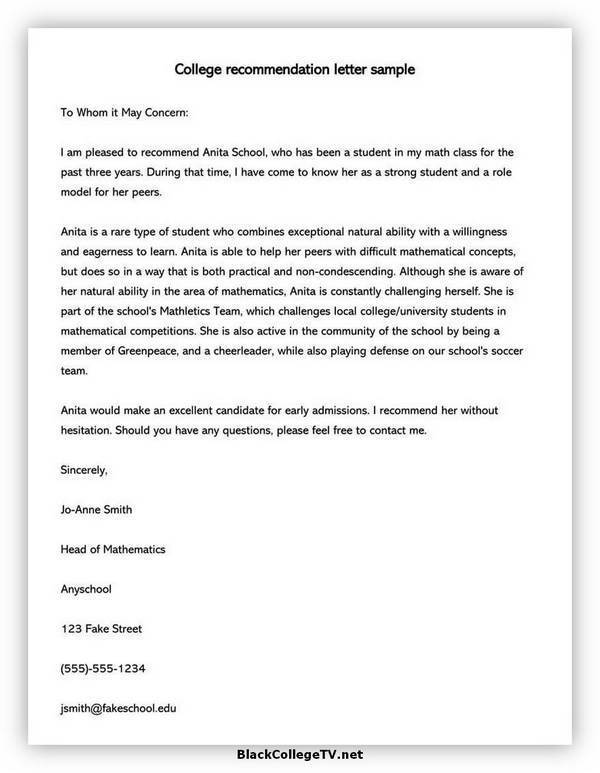 College Letter of Recommendation Format 08