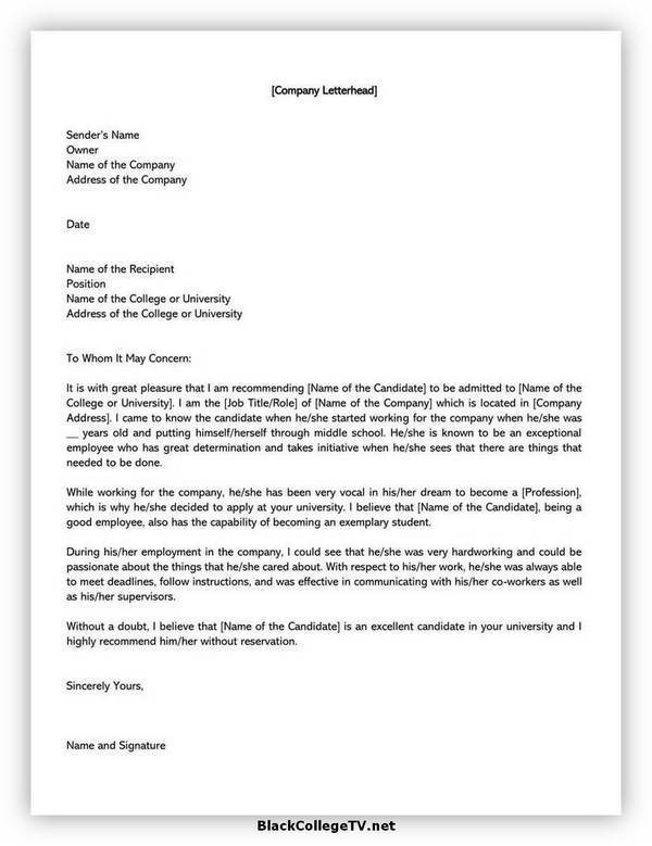 College Letter of Recommendation Format 09