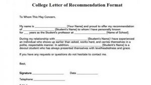 College Letter of Recommendation Format New