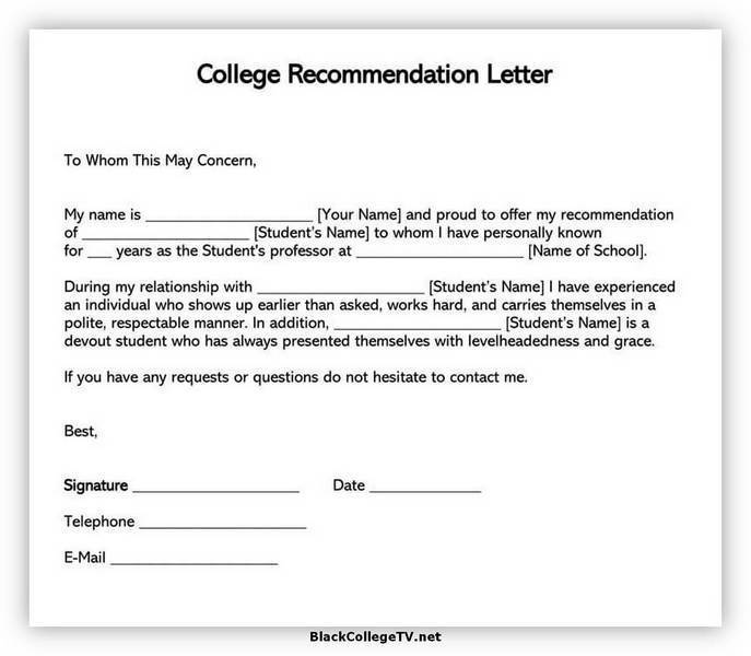 College Letter of Recommendation Samples 06
